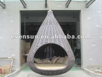 1pc Synthetic Rattan Wicker Outdoor Garden Kd Nest Hanging Bed With Umbrella