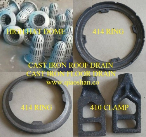 414 Series Cast Iron Roof Drain With High Dome And 410 Clamp