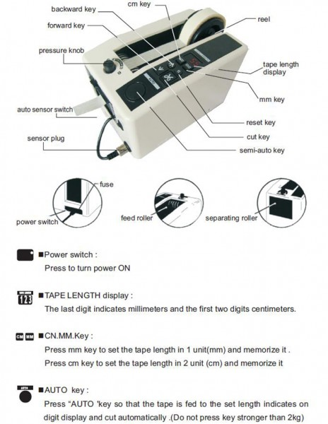 YINATE M1000S Automatic Tape Dispenser