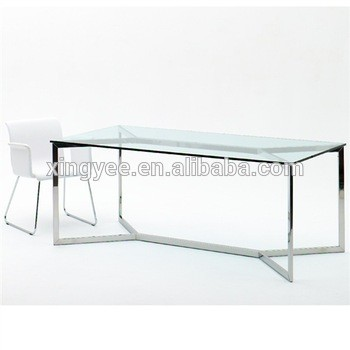 Modern Furniture Latest Dining Chair Table Set Designs Chromed Brushed Stainless Steel Tables Tempered Glass Top