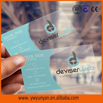 2017 High Quality Transparent Plastic Pvc Business Cardpvc Business