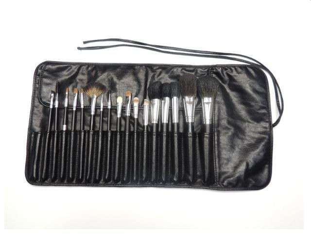 17 PCS Makeup Brush Set Black Carry Pouch