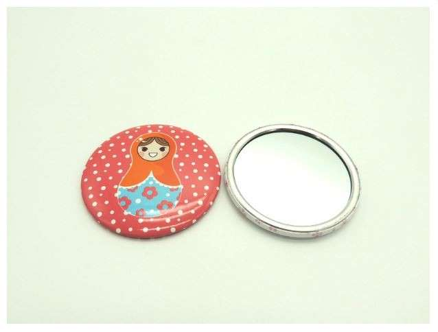 Cartoon Print Portable Round Mirror