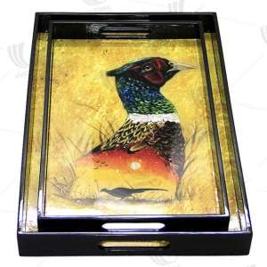 Appealing well-decorated lacquer wooden serving tray. Rectangular serving tray handmade in Vietnam